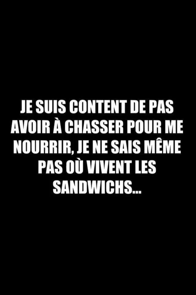 Je suis content de ne pas avoir à chasser pour me nourrir, je ne sais même pas où vivent les sandwichs...#Sarcasm #funny #Excellent