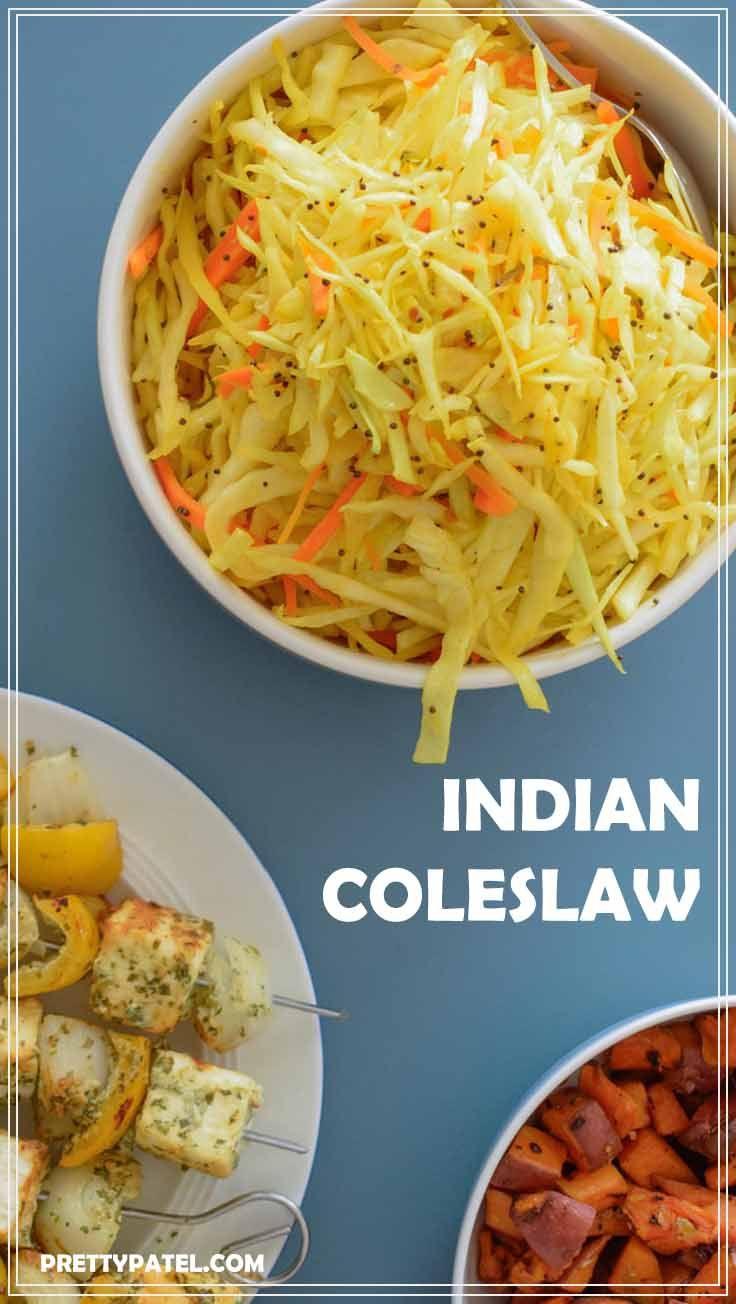 Indian coleslaw, Spicy cabbage salad, indian salad, salad recipe, vegan, vegetarian, gluten free, spicy, low carbs, healthy, caabage l www.prettypatel.com