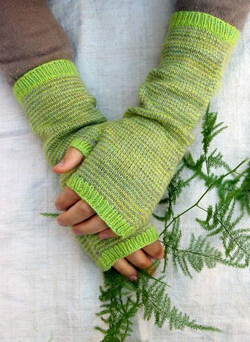 Long Striped Hand Warmers pattern by Purl Soho