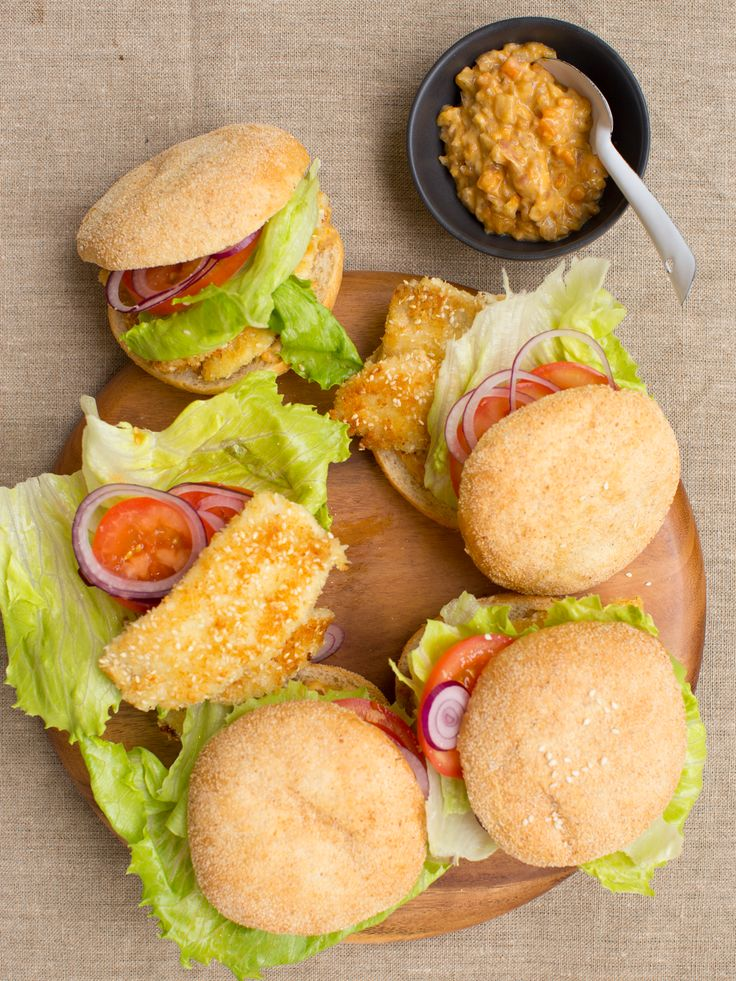 Sesame Coated Fish Burgers with Kumara and Mango Relish
