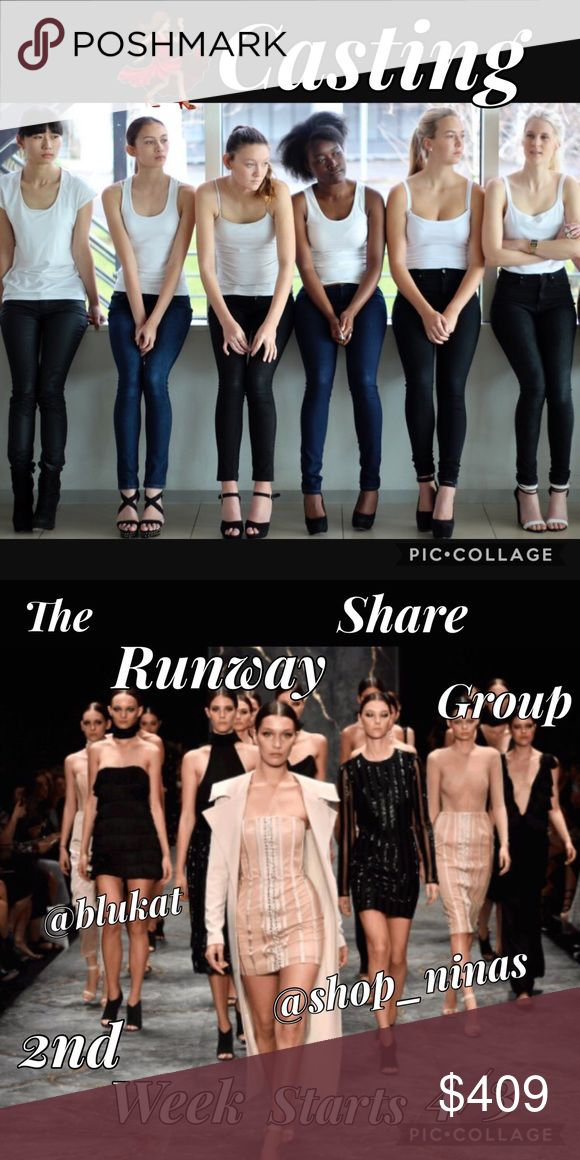 """Casting Group-The Runway Share Group Share 7 items for everyone in Group once a day. Put in your """"Likes"""". Sign out everyday by tagging your name & stating date. Have fun, make friends & $$$. From 4/3 -4/9. Share Group Other"""