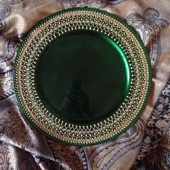Green mehndi wedding home decor thaal plate by Mehandibytasha