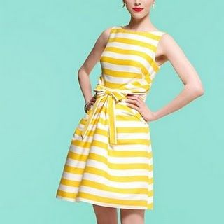 yellow!: Colors Combos, Summer Dresses, Yellow Stripes, Yellow Sundresses, Red Lips, The Dresses, Weights Loss, Kate Spade, Summer Clothing