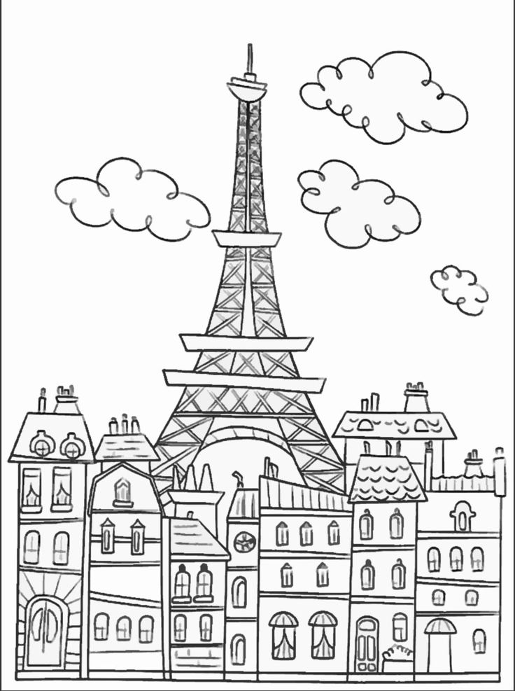 Paris buildings & Eiffel tower : cute coloring page to download on www.coloring-pages-adults.com