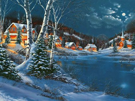 It's still winter - sky, cold, painting, trees, houses, evening, snow, frost, winter, clouds, night
