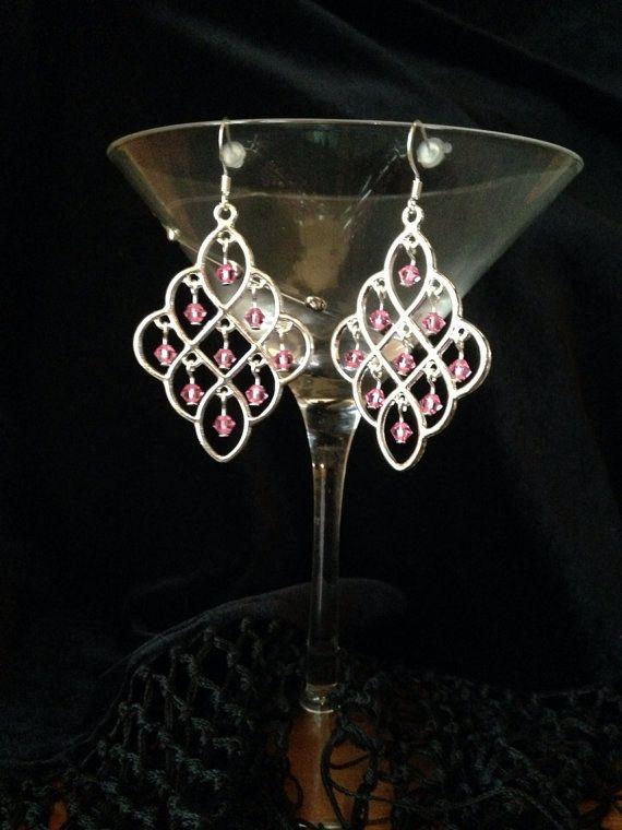 Pink Swarovski Crystal silver Chandelier by Momsjewelrycreations, $13.00