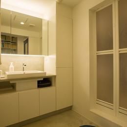 スープの冷めない距離がいい 子育てしやすい団地リノベーションの部屋 洗面脱衣室もスッキリ!充実の収納