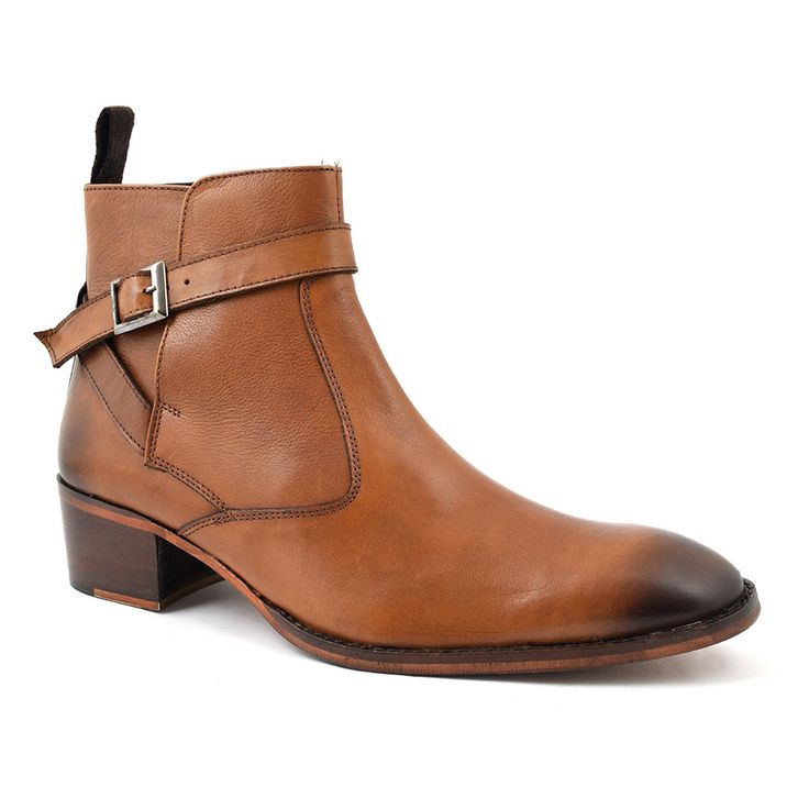 A brown cuban heel beatle boot boot with a buckle strap. This pull up boot has a 5cm heel and there is a subtle bleed into a darker brown to the toe and the heel. A brown heeled boot with a designer feel. • Leather upper, leather lining, man-made sole • Also available in black