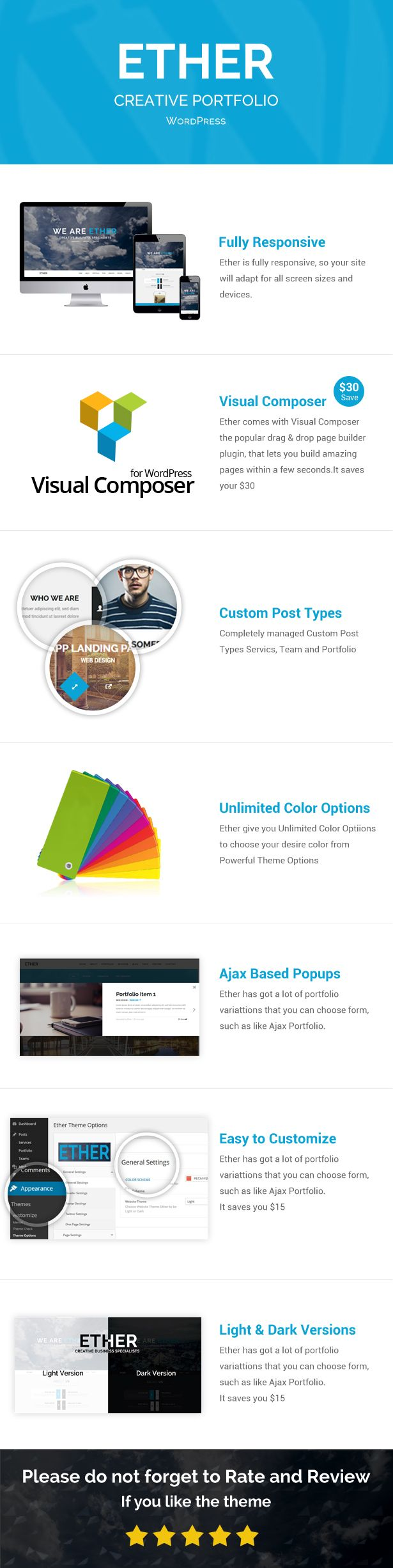 Ether Creative Business WordPress theme is a one page theme which comes in light and dark versions. It is a professionally developed theme which installs in less than 2 minutes. The famous page bu...