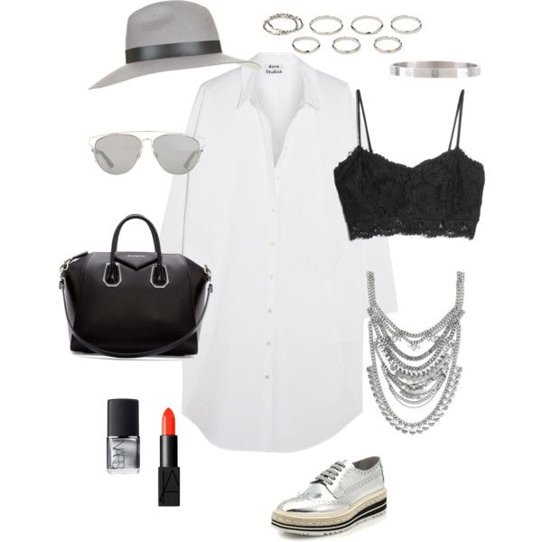 #silver #outfit  by ariannavillegas on Polyvore featuring polyvore, fashion, style, Acne Studios, MANGO, Prada, Givenchy, BCBGeneration, Akira, Topshop, Christian Dior and NARS Cosmetics