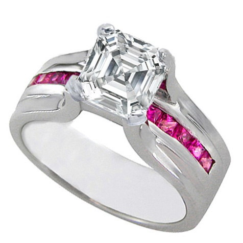 Engagement Ring - Asscher Cut Diamond Engagement Ring Bridge Setting With Pink Sapphire 0.45 tcw. In 14K White Gold - ES232ACS.....this really my ultimate favorite. Has been for three years now. I wonder how it would look in black  titanium?