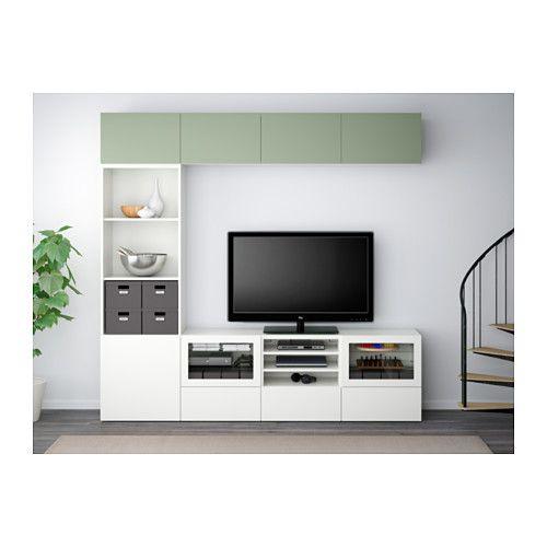 BESTÅ Alm TV - Lappviken verde/Sindvik vidrio transparente blanco, riel p/cajón+apetura presión - IKEA