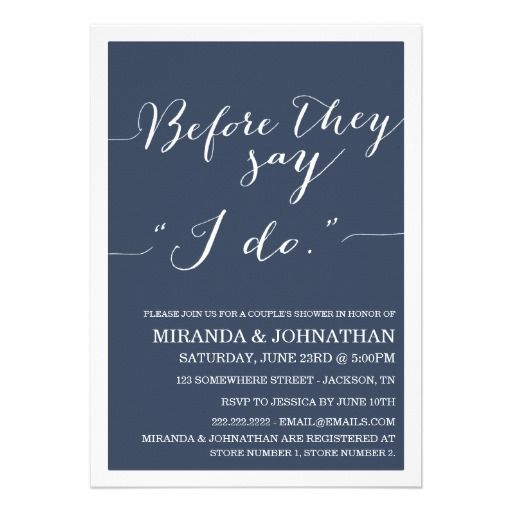 Navy Classy Couple's Shower Invitations
