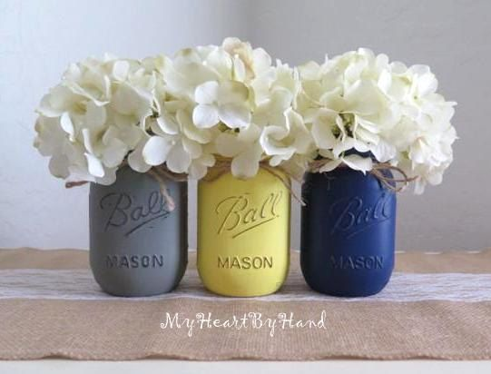 Grey, Yellow And Navy Blue Distressed Mason Jars, Rustic Home Decor, Rusticu2026