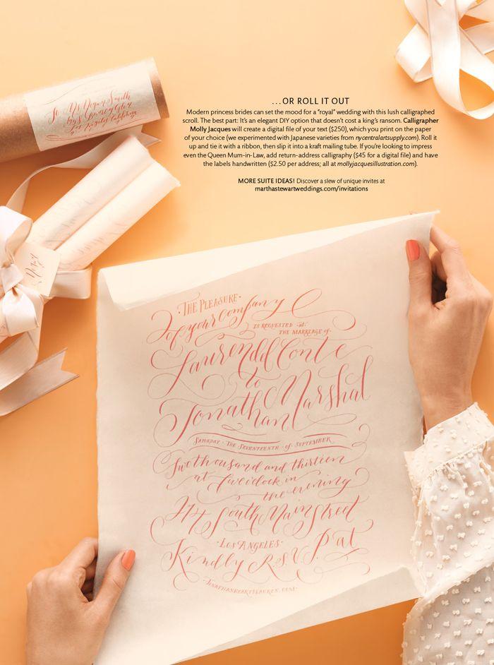 Molly Jacques Handwritten Wedding Invitation Featured In Martha Stewart  Weddings