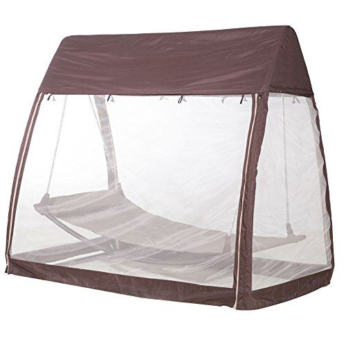 Abba Patio Outdoor Arched Canopy Cover Hanging Swing Hammock with Mosquito Net 7.6×4.5×6.7 Ft, Chocolate