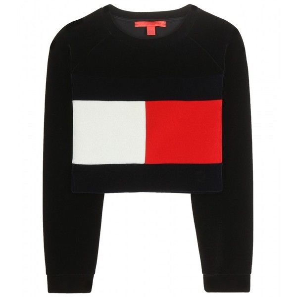 Tommy Hilfiger mytheresa.com Exclusive Flag Cropped Sweatshirt (£140) ❤ liked on Polyvore featuring tops, hoodies, sweatshirts, jumper, crop top, shirts, sweaters, black, black sweatshirt and shirt crop top