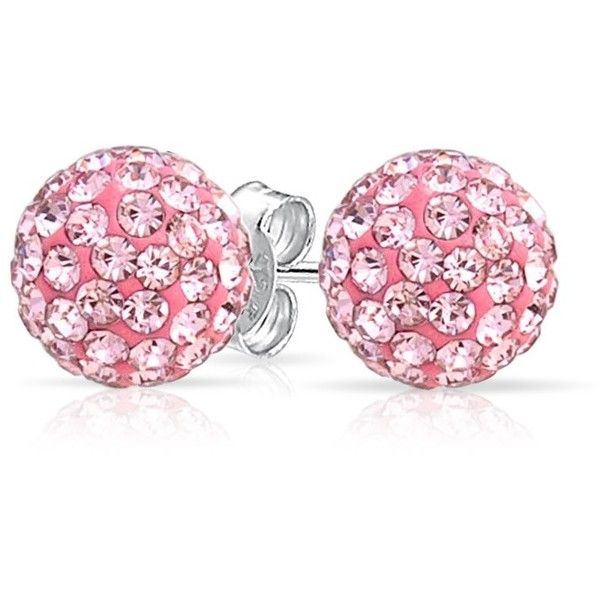 Pink Topaz Color Crystal Stud Earrings Shamballa Inspired 8mm ($13) ❤ liked on Polyvore featuring jewelry, earrings, pave stud earrings, pave earrings, pave jewelry, studded jewelry and stud earrings