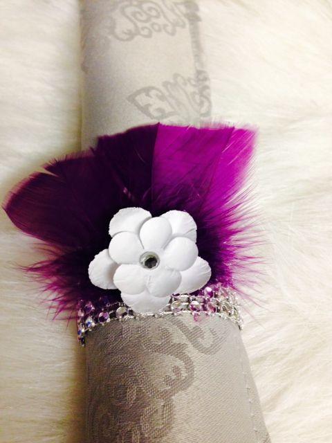 rhinestone mesh, purple feathers + white paper flower