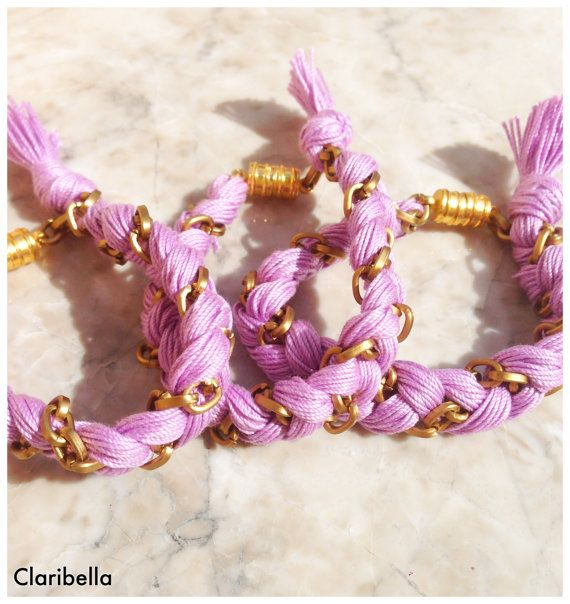 Friendship Bracelet  Braided Violet Thread by ClaribellasDesigns, $12.50