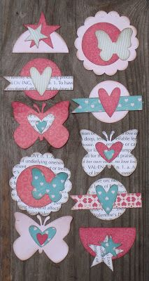 super cute embellishments with all of the tiny leftover scraps...