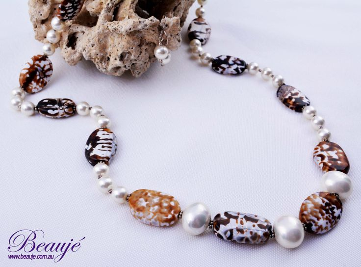 Brown necklace Cream necklace Gemstone jewellery Semi-precious necklace Beauje Handcrafted Unique Designer Gift Box by BeaujeJewellery on Etsy
