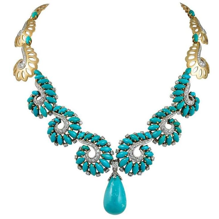 Boucheron Turquoise Diamond Gold Platinum Necklace | From a unique collection of vintage drop necklaces at https://www.1stdibs.com/jewelry/necklaces/drop-necklaces/