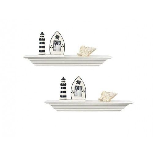 18 Inch Set of 2 Corona Crown Molding Wall Shelf White.  WELLAND DESIGNED LINES--Floating mantel ledge shelves with crown molding style curved line add a traditional and elegant touch to your decor  ONE TRANSVERSE GROOVE--To better display phone frames. WELLAND corona crown molding floating can organize your home and free countertops from clutter. It is perfect for photo frames, trophies, books, and more