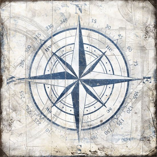 Jace Grey: Compass Wood Blocks Keilrahmen-Bild 50x50 Leinwand maritim