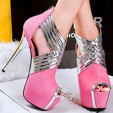 Calçados Femininos Veludo Salto Agulha Saltos/Peep Toe Sandálias Social/Casual Preto/Azul/Rosa/Cinza - BRL R$ 119,67