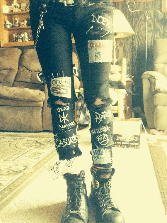 Crust Punk Pants. (Patches, Dirty looking Appearance, Custom) on Etsy, $150.00