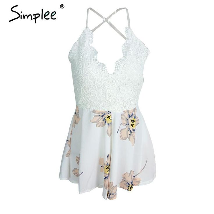 Simplee Apparel Strap white lace elegant jumpsuit romper Sexy backless chiffon summer playsuit Women boho floral short overalls  #stylish #outfitoftheday #jewelry #beautiful #styles #jennifiers #purse #makeup #outfit #fashion #style #beauty #model #hair #cute