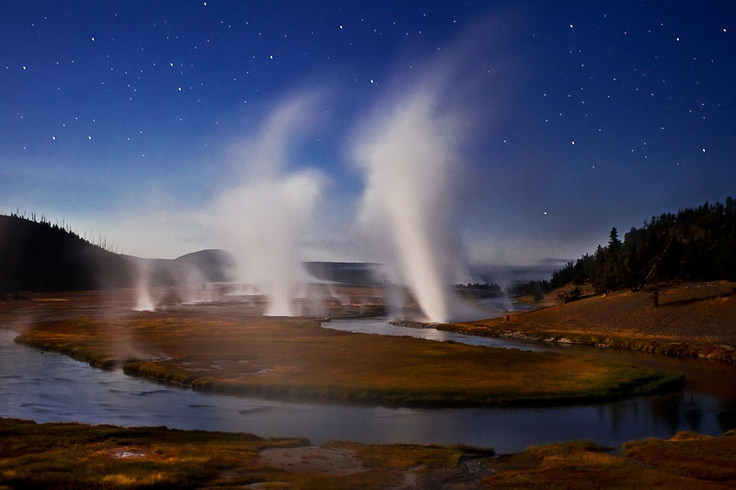 Moonlight at Midway, Midway Geyser Basin, Yellowstone National Park, Wyoming | photo by Richard Bernabe: Galleries, Richard Bernab, Midway Geyser, Eleven, Http Www Richardbernabe Com, Geyser Basin, Photo, National Parks Wyoming, Yellowstone National Parks