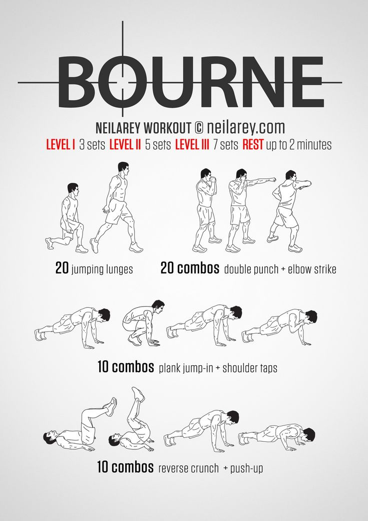 Bourne workout for highly trained assassins trying to outrun their past.