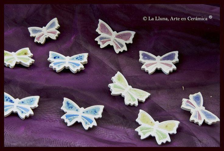 Broches Mariposa, Diseño de la Lluna, Arte en Cerámica®