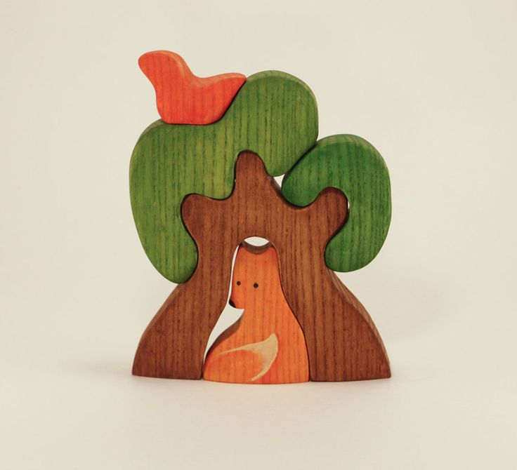 Waldorf wooden Tree with a Fox Wooden Puzzle eco friendly educational Infant Learning toys toddler gift Handcrafted forest fairy tale by MikheevManufactory on Etsy