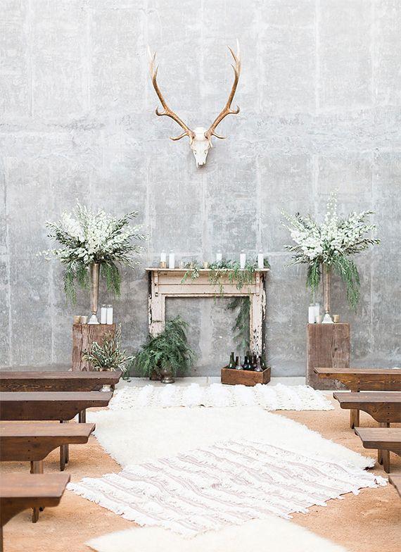 earthy boho wedding altar