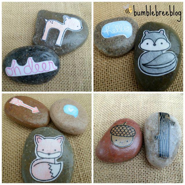 Easy DIY Story Stones from bumblebreeblog.  #modpodge #LawnFawn #IntoTheWoods #bumblebreeblog