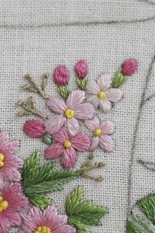 pink blooms embroidery
