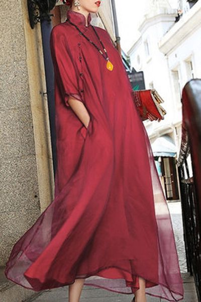 Revienne Bay Red Layered Maxi Cheongsam Dress   Maxi Dresses at DEZZAL
