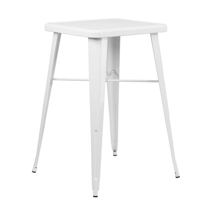 Offex 23.75'' Square White Metal Indoor-Outdoor Bar Height Table [OF-CH-31330-WH-GG]