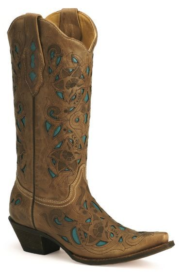 Corral Turquoise Leather Inlay Cowgirl Boots - Sheplers. I need to save for these I've wanted them for 2 years now