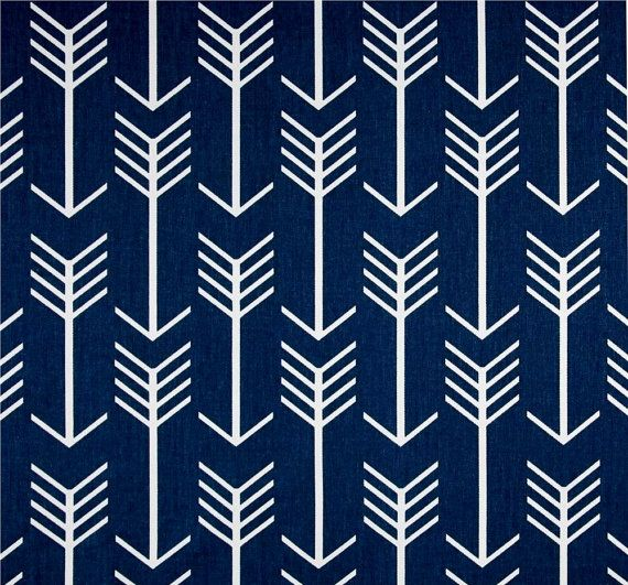 Navy Blue Arrow Indoor Outdoor Fabric By The Yard Southwest Cabin Cowboy  Fabric Designer Drapery Curtain