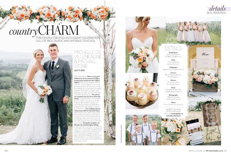 Michelle & Michael Stone's Sirocco Golf Club wedding is featured nationally in Wedding Bells Magazine!  Flowers by Janie- Calgary Wedding Florist www.flowersbyjanie.com Photos: @heartsparrow