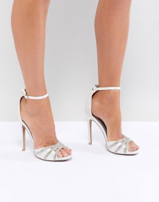 b36241908e16 QUPID Embellished Bridal Heeled Sandals in 2019