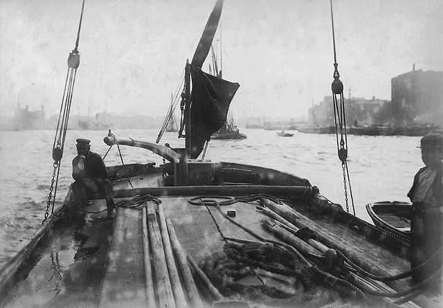 On board a sailing barge on the Thames