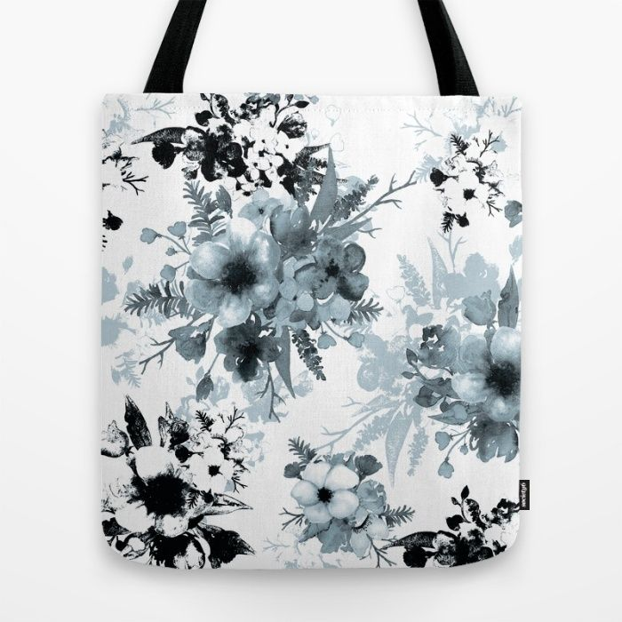 Vintage Floral in Blue Tote Bag by The Willow Wood Studio | Society6