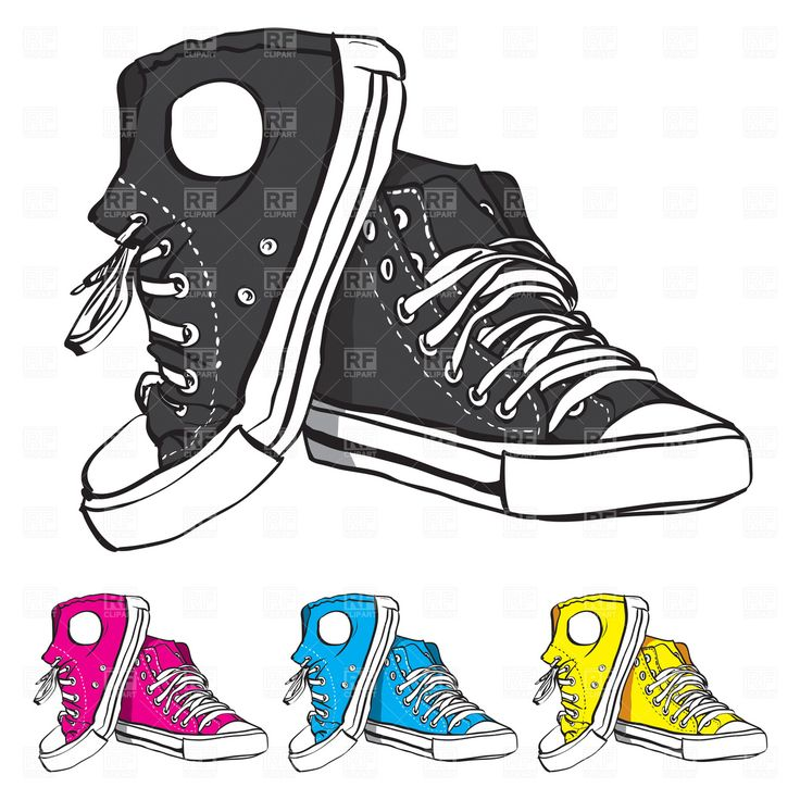 Illustration of Blue sneakers with yellow lace vector art, clipart and  stock vectors.