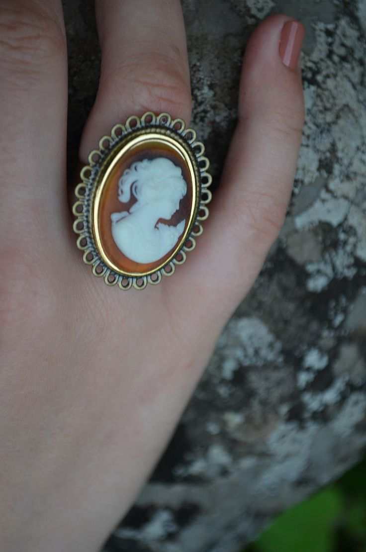 Cameo Ring | Artisan Jewelry | Adjustable Band | Handmade Bohemian Jewellery by GhostandLolaBoutique on Etsy