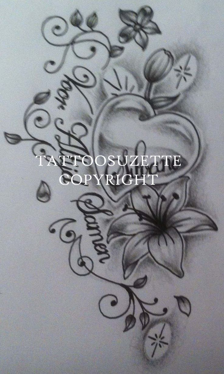 Ibrahim name tattoo designs - Heart And Lily Tattoo Design By Tattoosuzette Watch Designs Interfaces